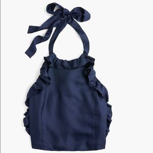 JCrew silk ruffle halter top in navy